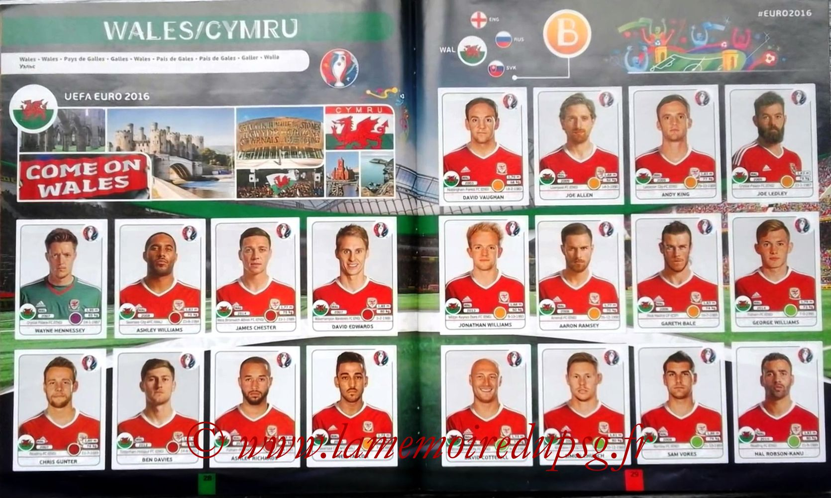 Panini Euro 2016 Stickers - Pages 28 et 29 - Pays de Galles