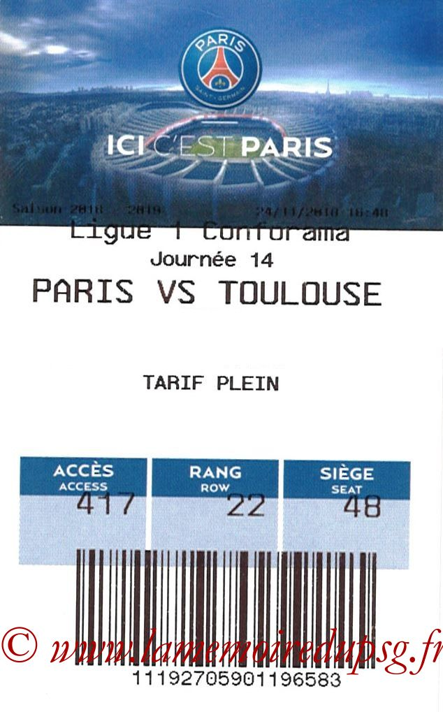 2018-11-24  PSG-Toulouse (14ème L1, E-ticket)