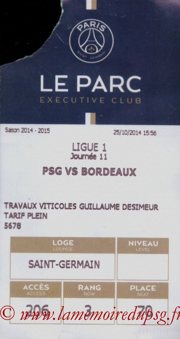 2014-10-25  PSG-Bordeaux (11ème L1, Executive Club, E-ticket)