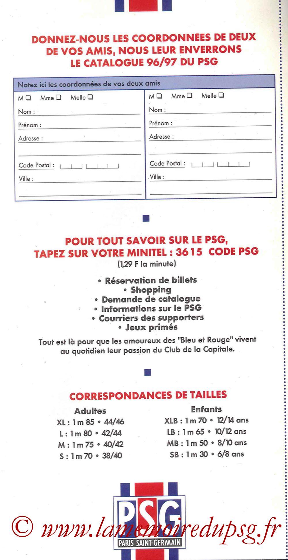 Catalogue PSG - 1996-97 - Bon de commande 2
