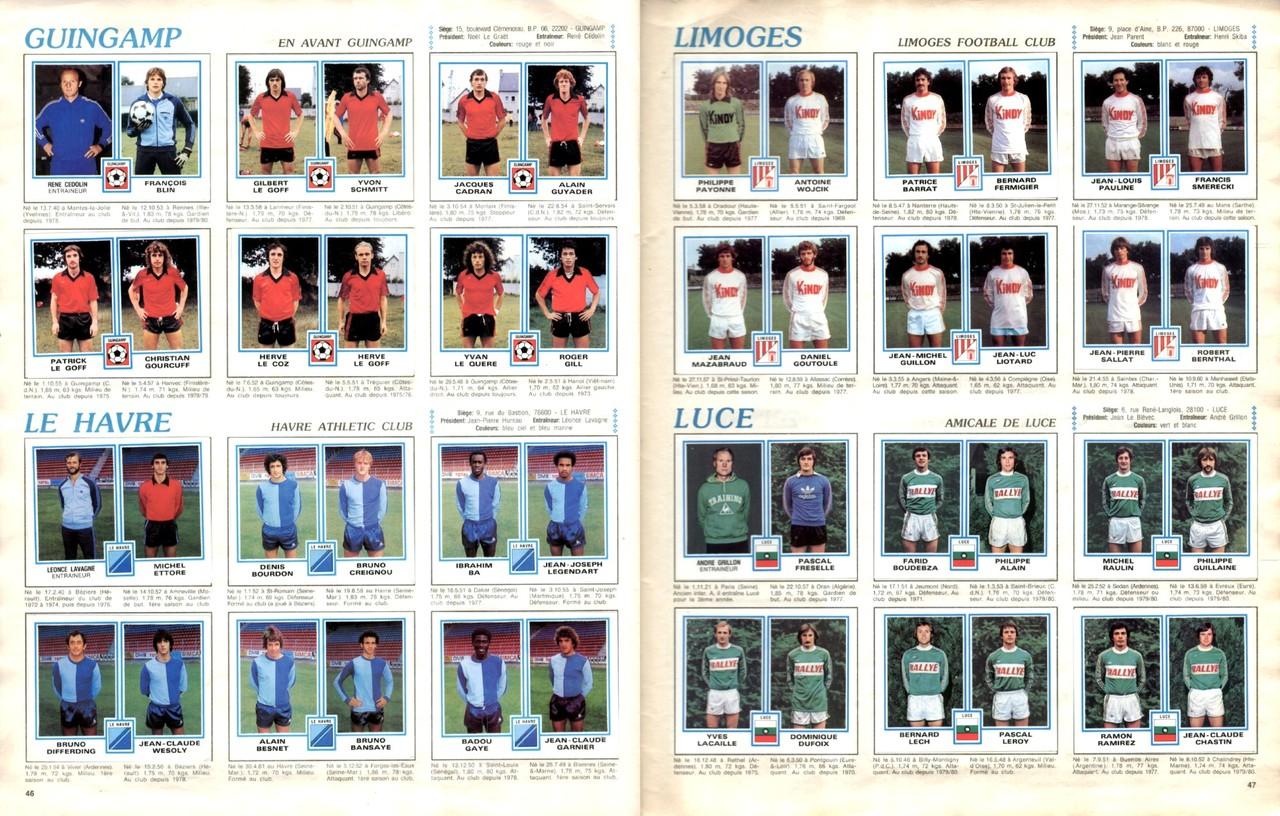 1979-80 - Panini 1980 - Pages 46 et 47 - En Avant Guingamp et Le Havre AC +  Limoges FC et Amical de Luce