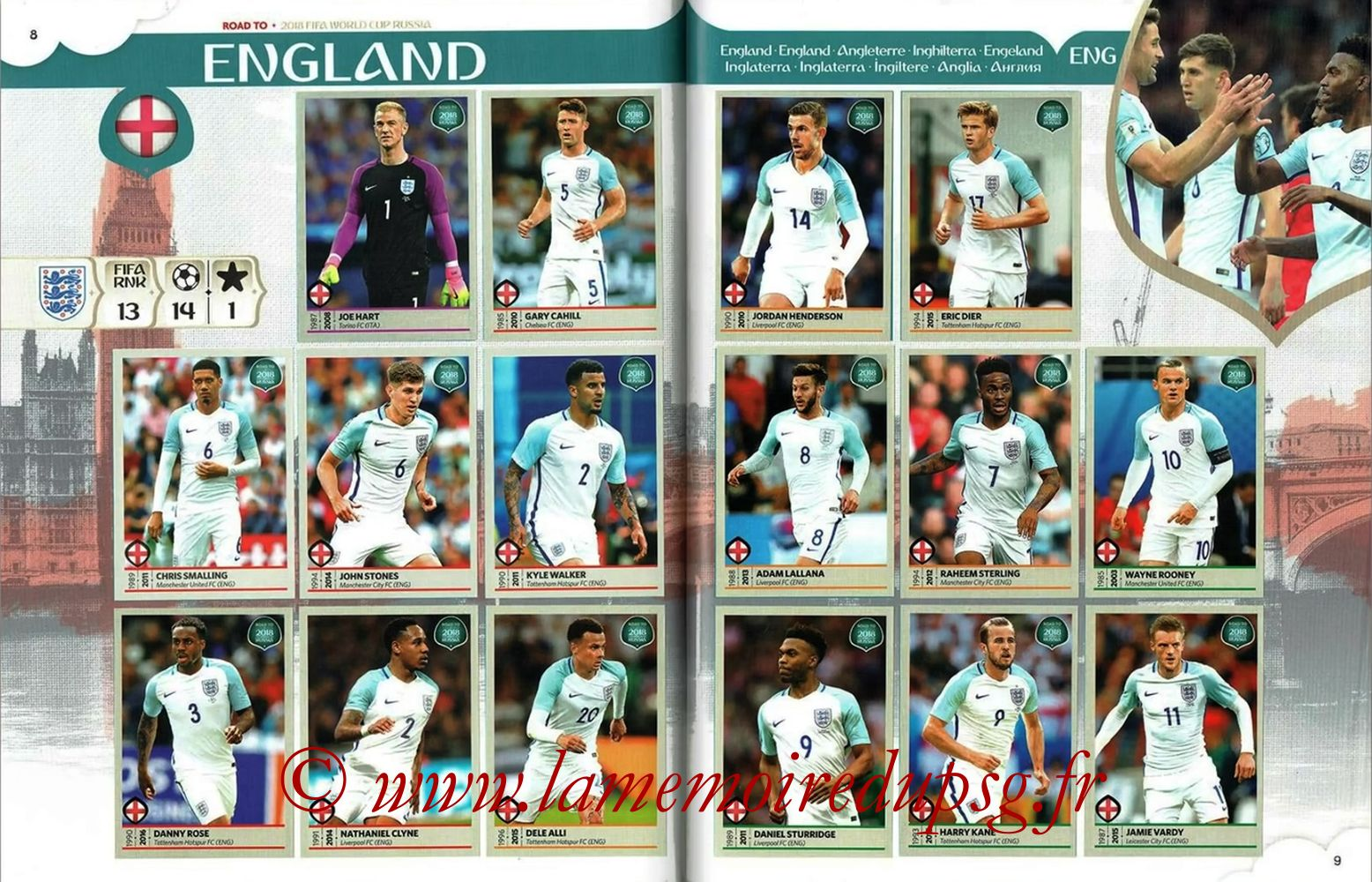 2018 - Panini Road to FIFA World Cup Russia Stickers - Pages 08 et 09 - Angleterre