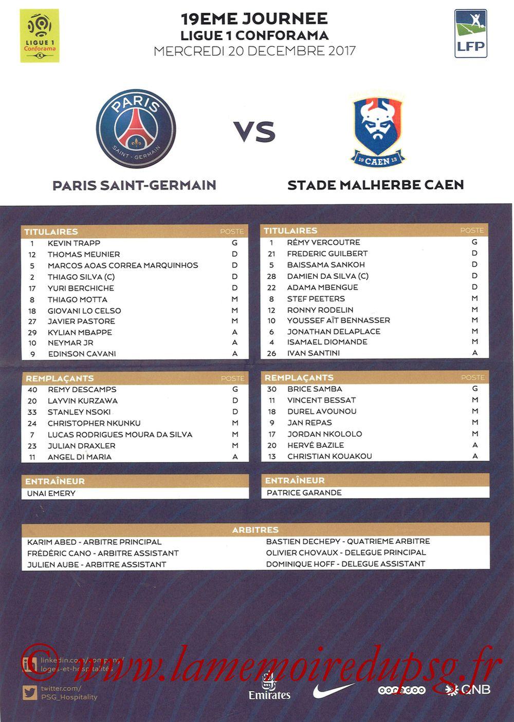 2017-12-20  PSG-Caen (19ème L1, Feuille de match)