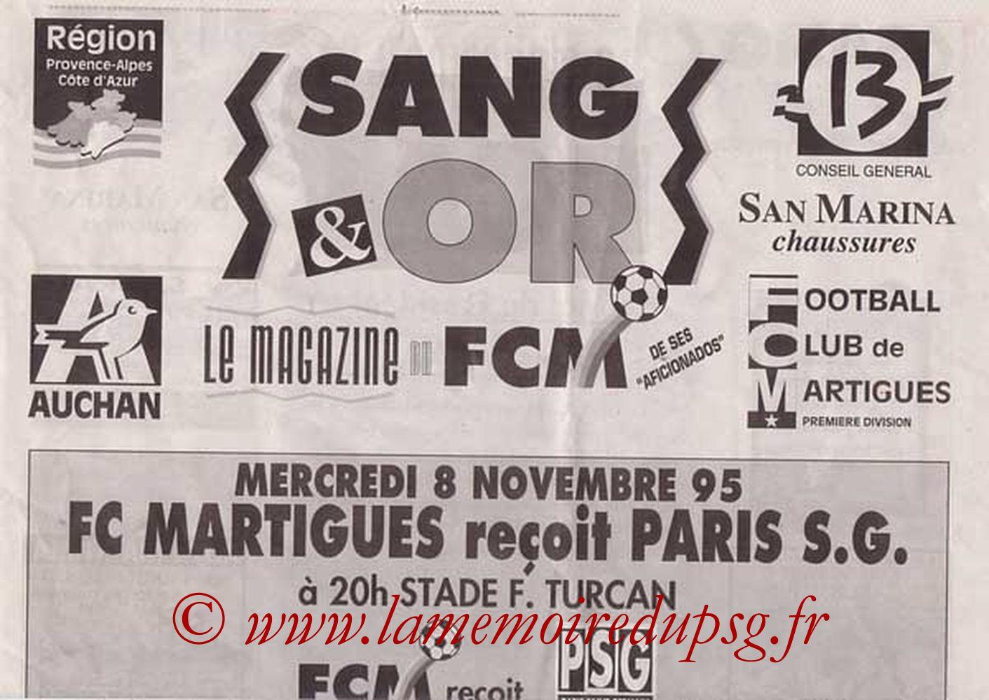 1995-11-08  Martigues-PSG (17ème D1, Sang & Or, que je n'ai pas)