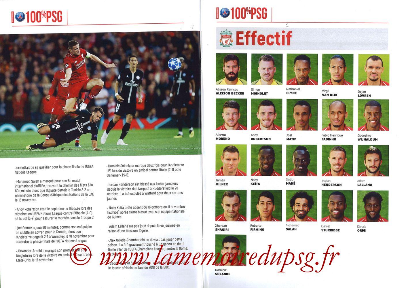 2018-11-28  PSG-Liverpool (5ème Poule C1, 100% PSG N° 172) - Pages 10 et 11