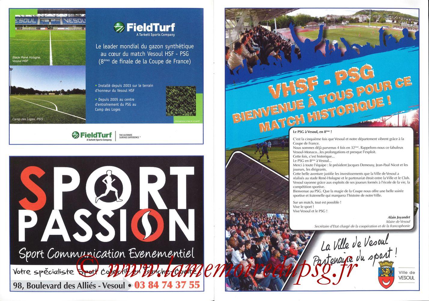 2010-02-09  Vesoul-PSG (8ème CF, Programme officiel) - Pages 04 et 05