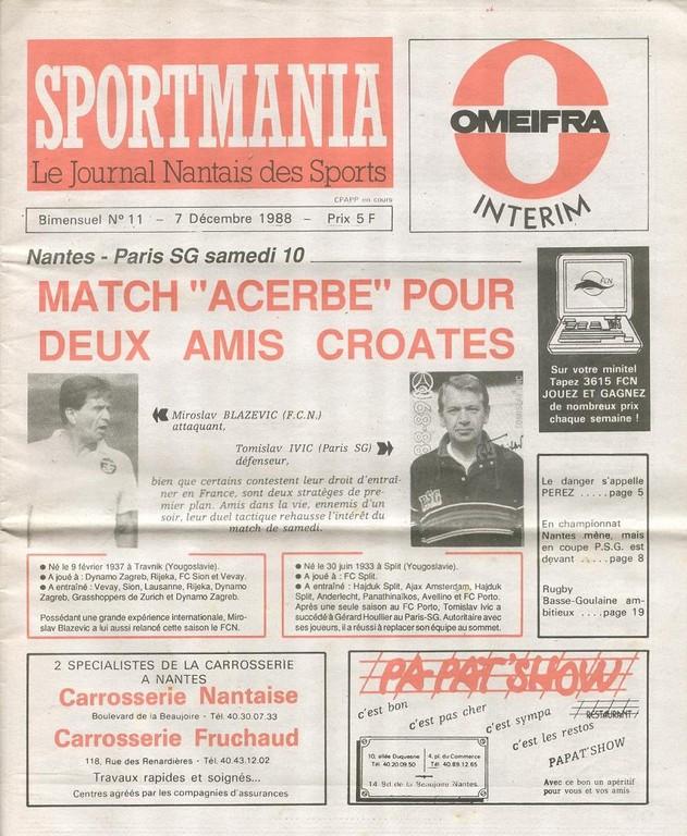 1988-12-10  Nantes-PSG (22ème D1,Sportmania N°11)