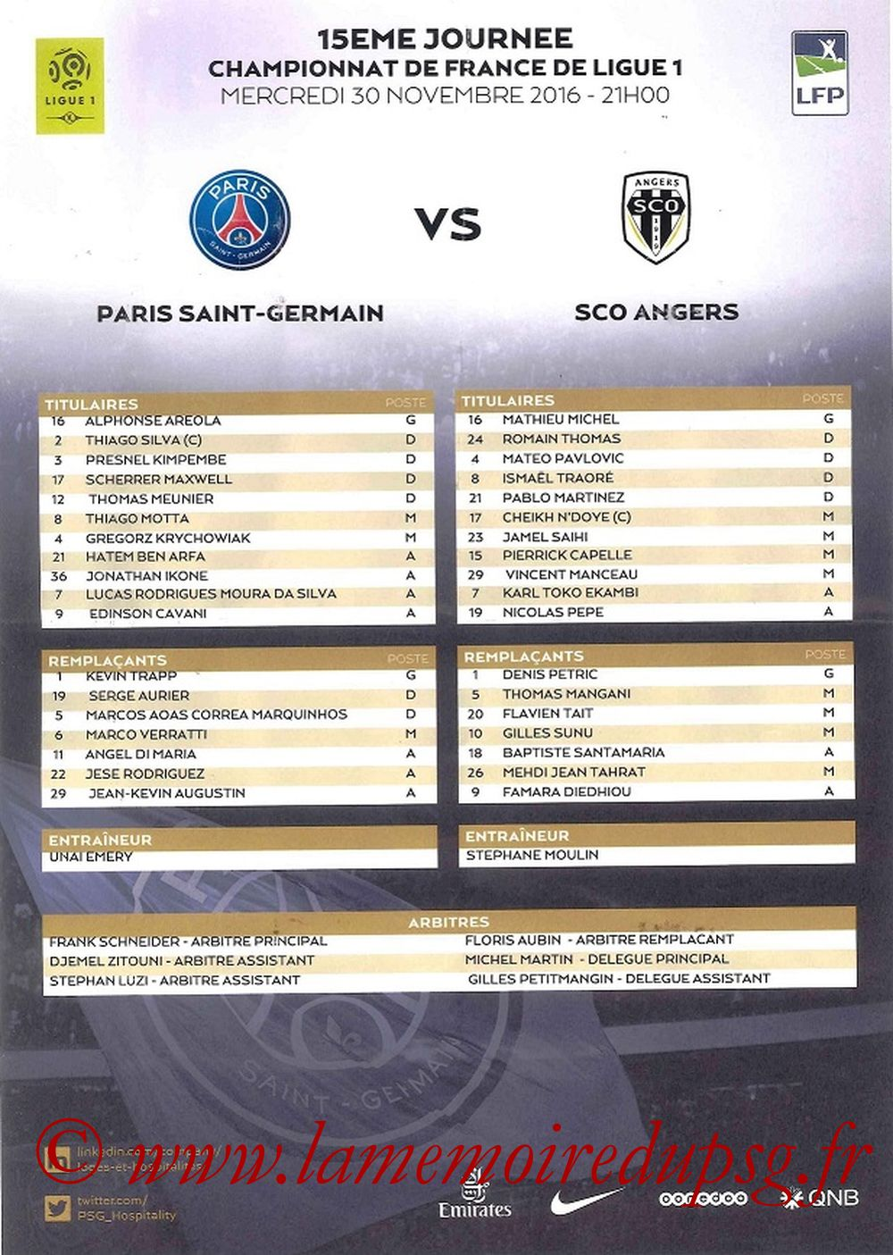 2016-11-30  PSG-Angers (15ème L1, Feuille de match)