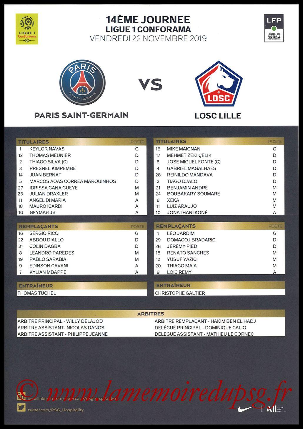 2019-11-22  PSG-Lille 14ème L1, Feuille de match)