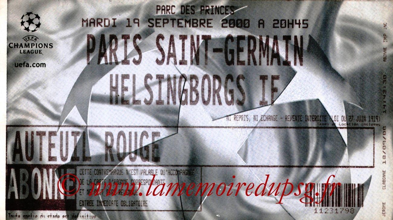 2000-09-19  PSG-Helsingborg (1ère Phase Poule C1, 2ème Journée)