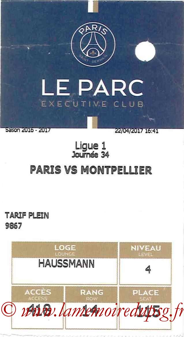 2017-04-22  PSG-Montpellier (34ème L1, E-ticket Executive club)