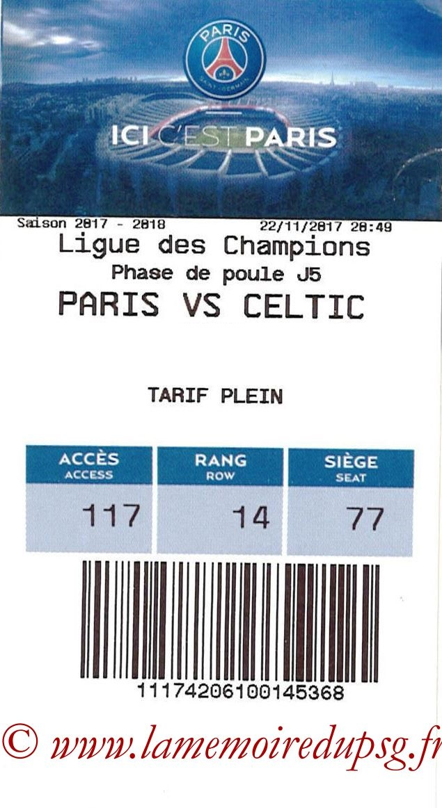 2017-11-22  PSG-Celtic (5ème C1, E-ticket)