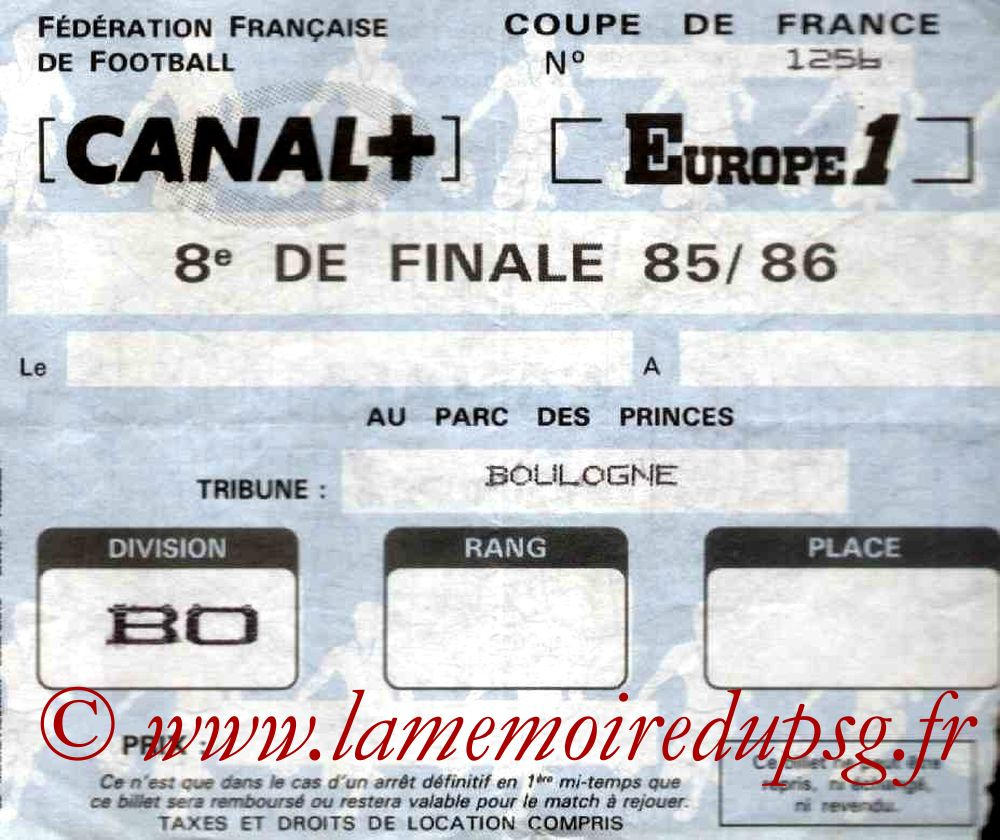 Ticket  PSG-Mulhouse  1985-86