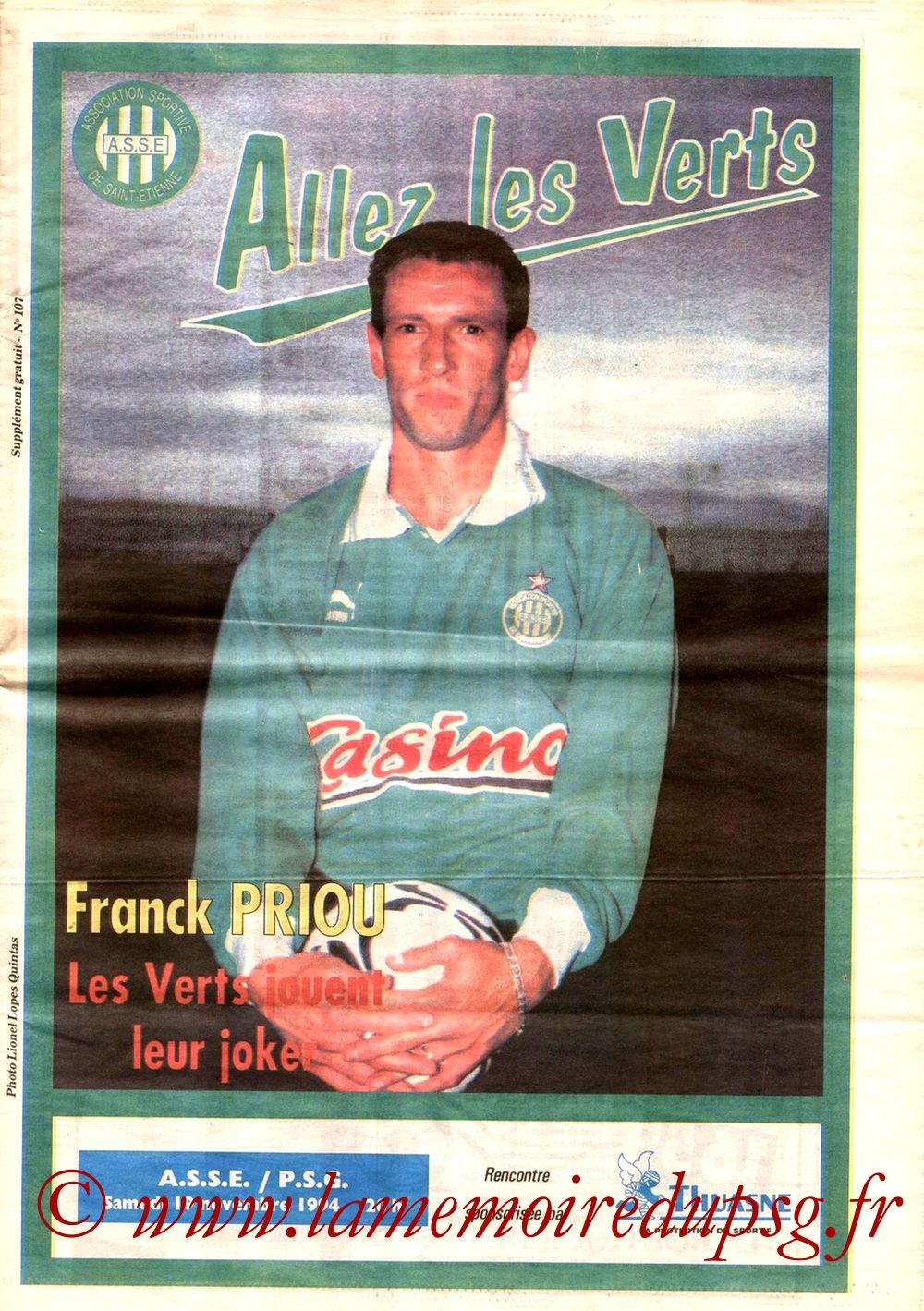 1994-11-19  Saint Etienne-PSG (18ème D1, Allez les verts N°107)