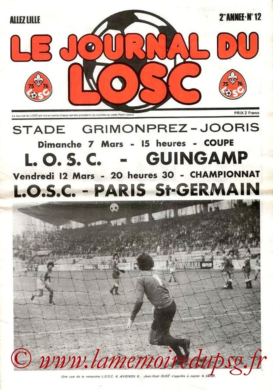 1976-03-12  Lille-PSG (26ème D1, Le journal du LOSC N°12)