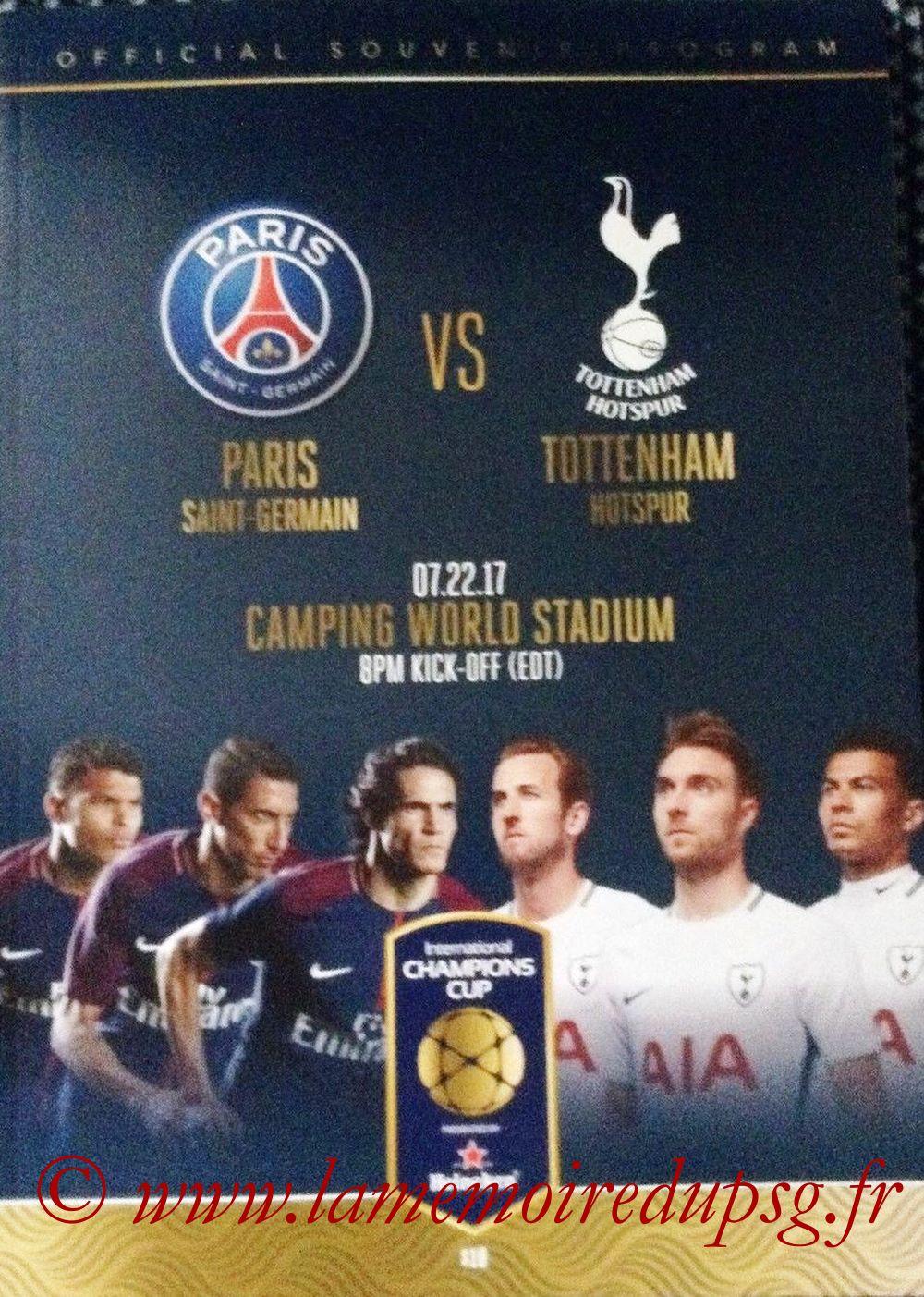 2017-07-22  PSG-Tottenham Hotspur (International Champions Cup, Programme officiel, que je n'ai pas)