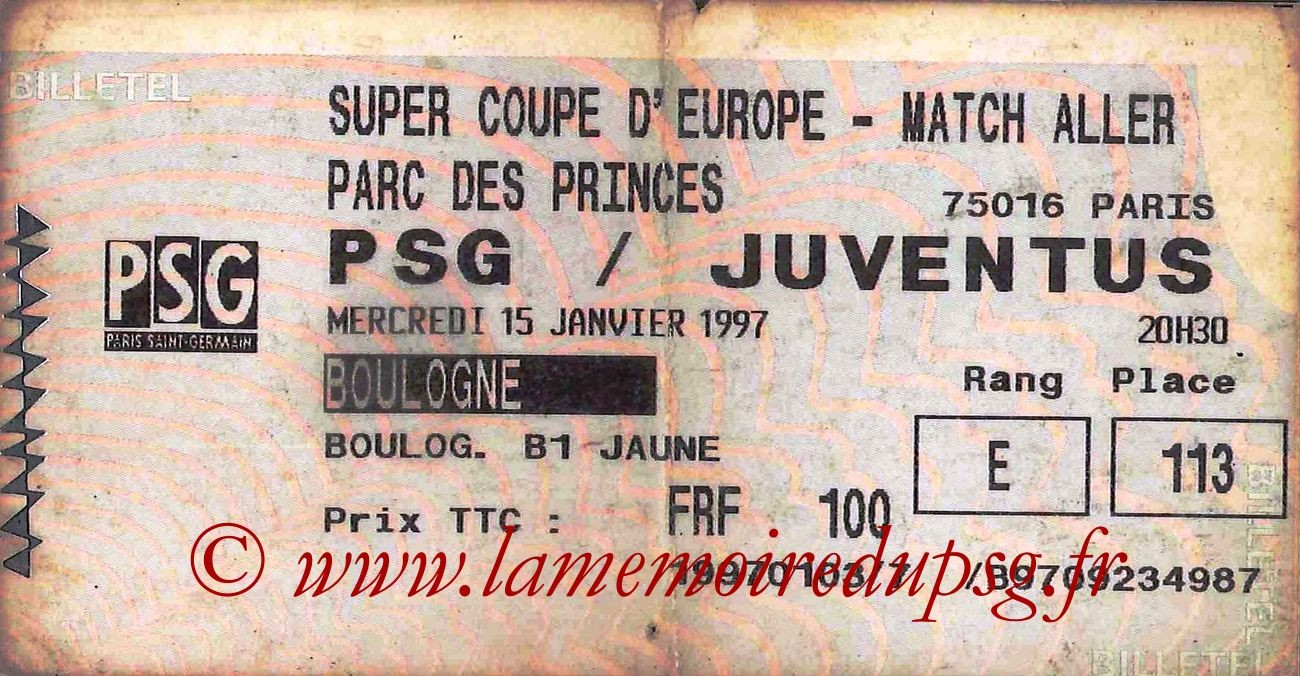 1997-01-15  PSG-Juventus Turin (Super Coupe Aller, Billetel)