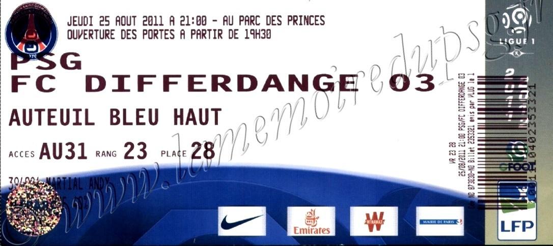 2011-08-25  PSG-Differdange (Tour Préliminaire retour C3)bis