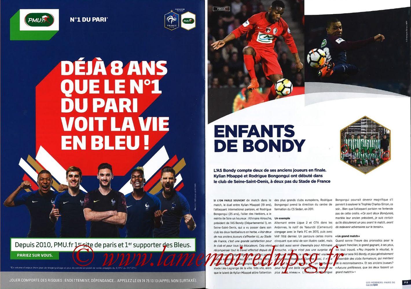 2018-05-08  Les Herbiers-PSG (Finale CF à Saint-Denis, Programme officiel FFF) - Pages 08 et 09