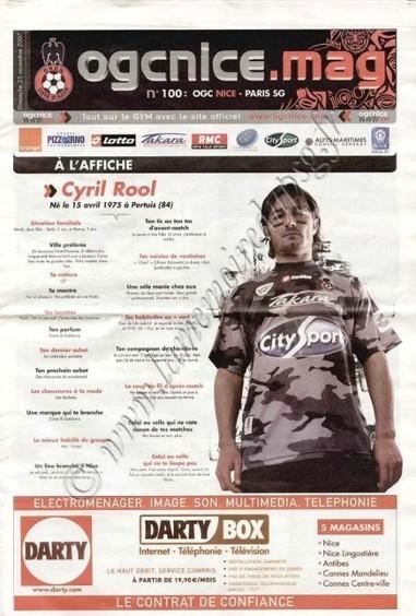 2007-11-25  Nice-PSG (15ème L1, OGCNice Mag N°100)