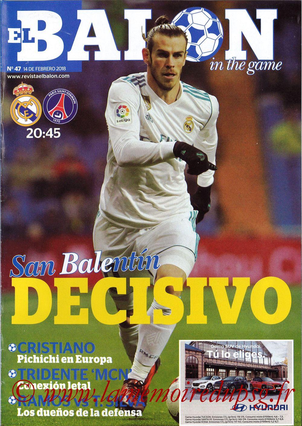 2018-02-14  Real Madrid-PSG (8ème Aller C1, El Balon in the game N°47)