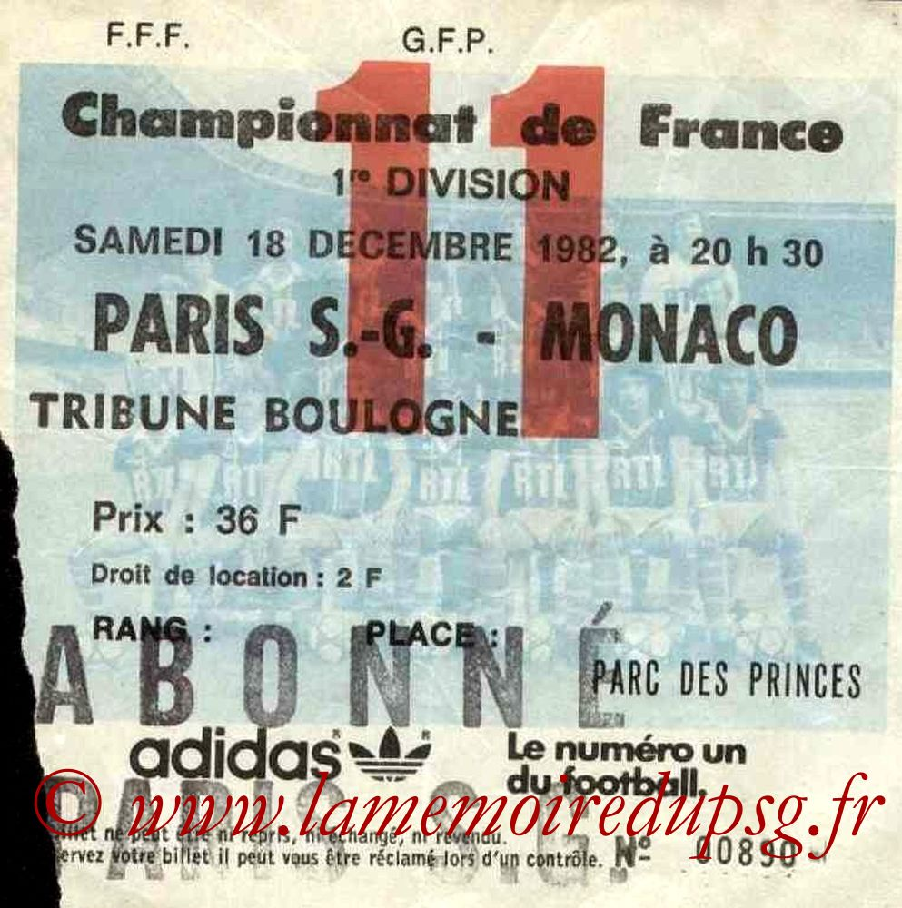 1982-12-18  PSG-Monaco (20ème D1, Ticket N°11)