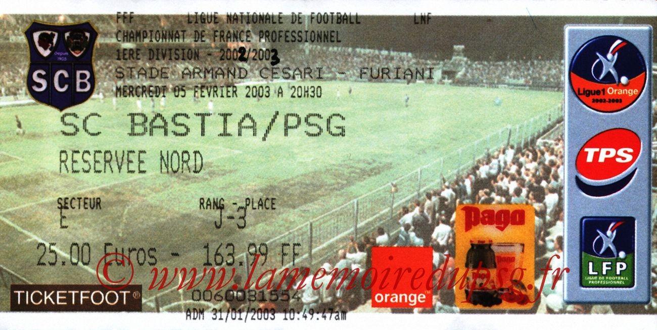 2003-02-05  Bastia-PSG (26ème L1)