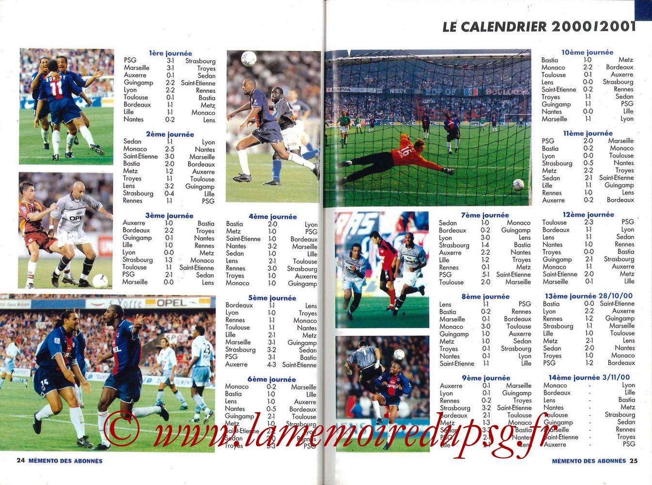 2000-01 - Guide de la Saison PSG - Pages 24 et 25