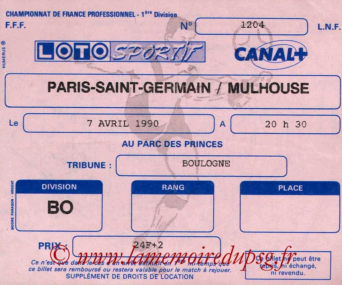 1990-04-07  PSG-Mulhouse (32ème D1)