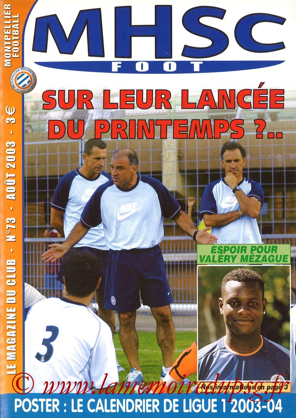2003-08-30  Montpellier-PSG (5ème L1, MHSC Foot N°73)