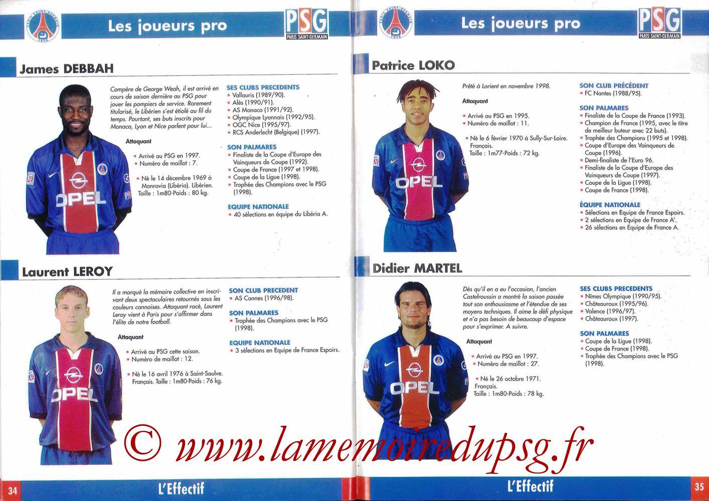 1998-99 - Guide de la Saison PSG - Pages 34 et 35