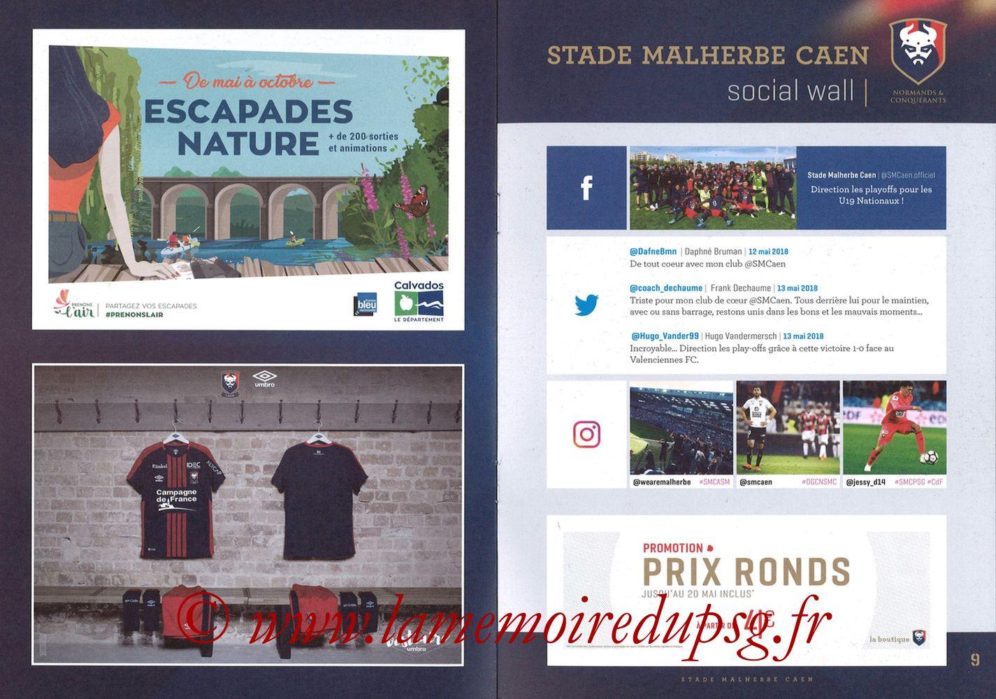 2018-05-19  Caen-PSG (38ème L1, Programme officiel) - Pages 08 et 09