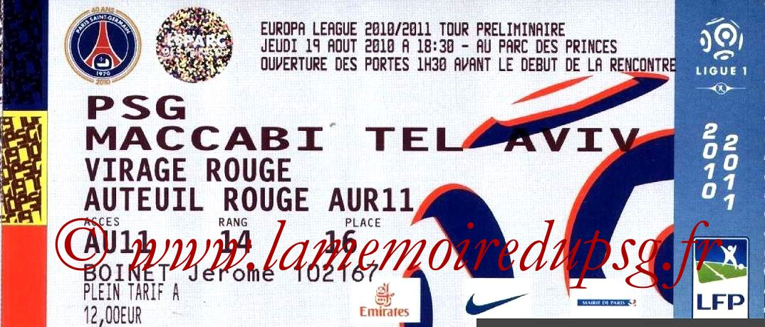 2010-08-19  PSG-Maccabi Tel-Aviv (Tour préliminaire Aller C3)
