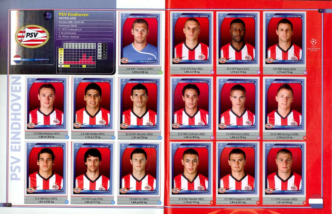 2008-09 - Panini Champions League - Pages 52 et 53 - PSV Eindhoven