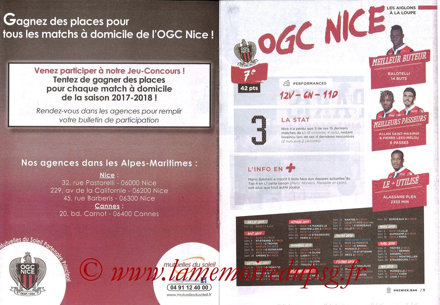 2018-03-18  Nice-PSG (30ème L1, OGC Nice Mag N°306) - Pages 08 et 09