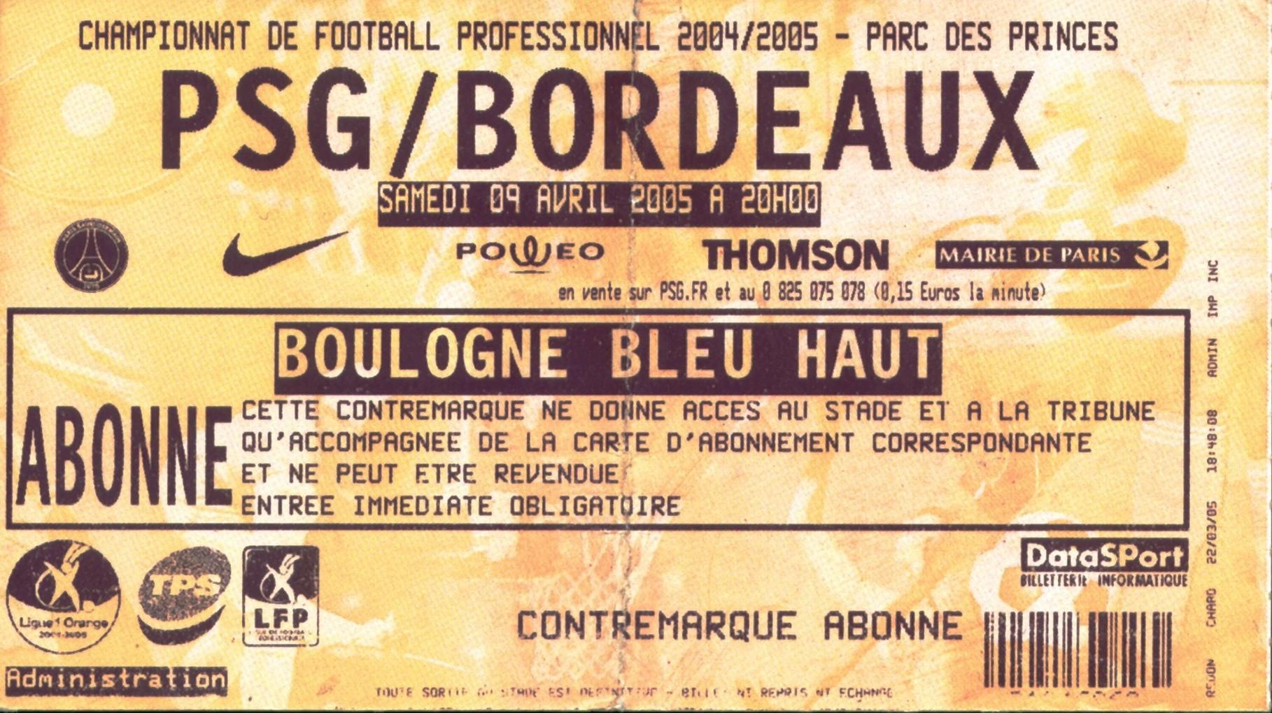 2005-04-09  PSG-Bordeaux (32ème L1, bis)