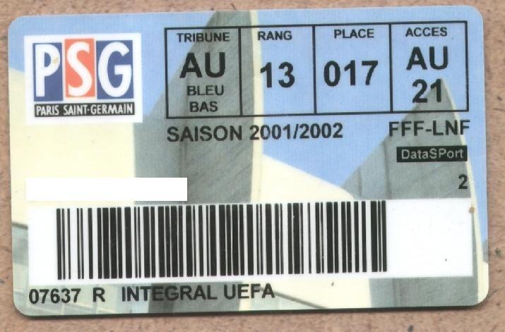 Carte d'abonné PSG 2001-02