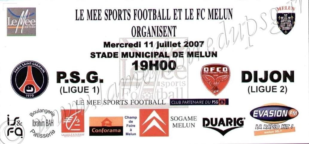 2007-07-11  PSG-Dijon (Amical à Melun, Affichette)