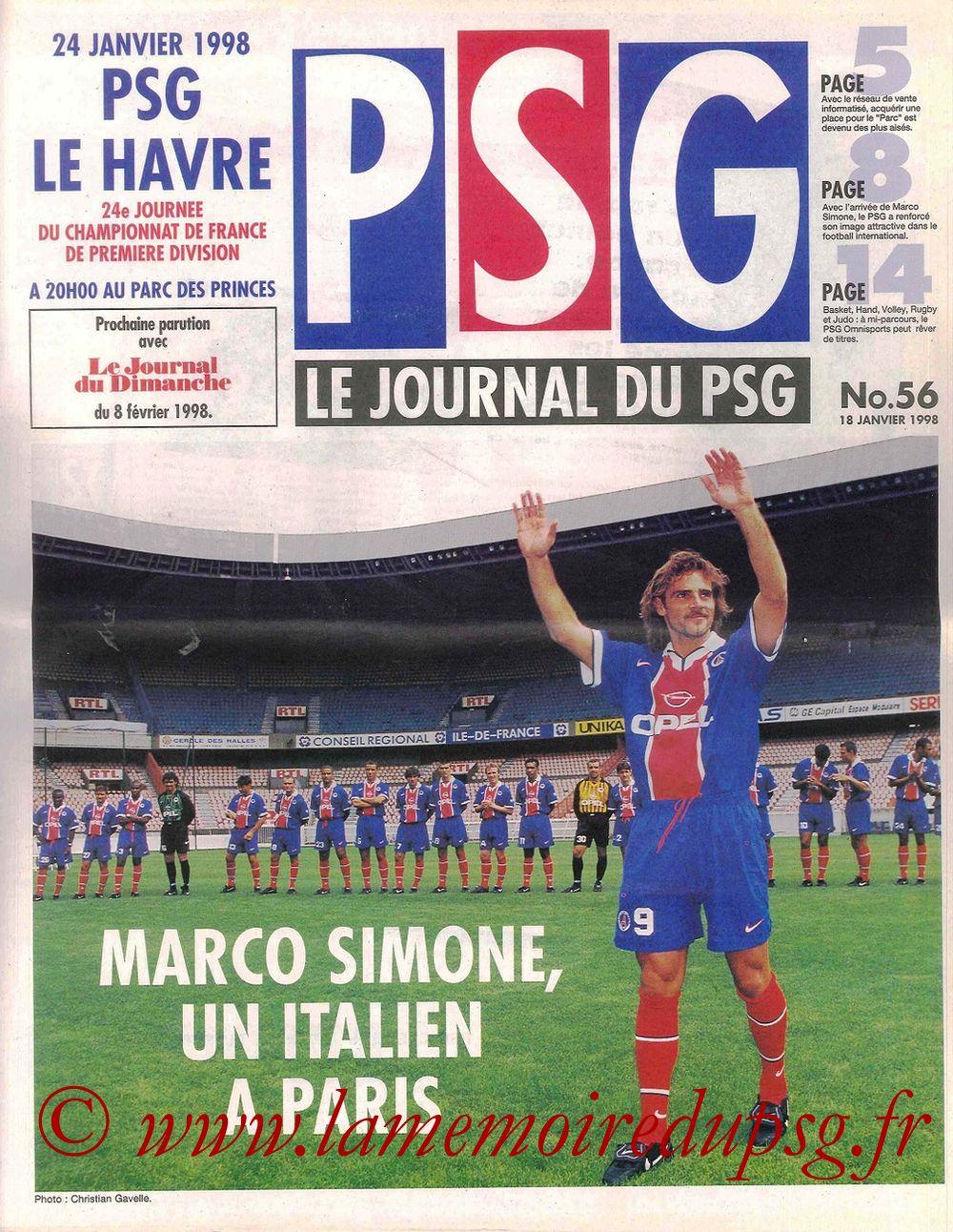 1998-01-24  PSG-Le Havre (24ème D1, Le Journal du PSG N°56)
