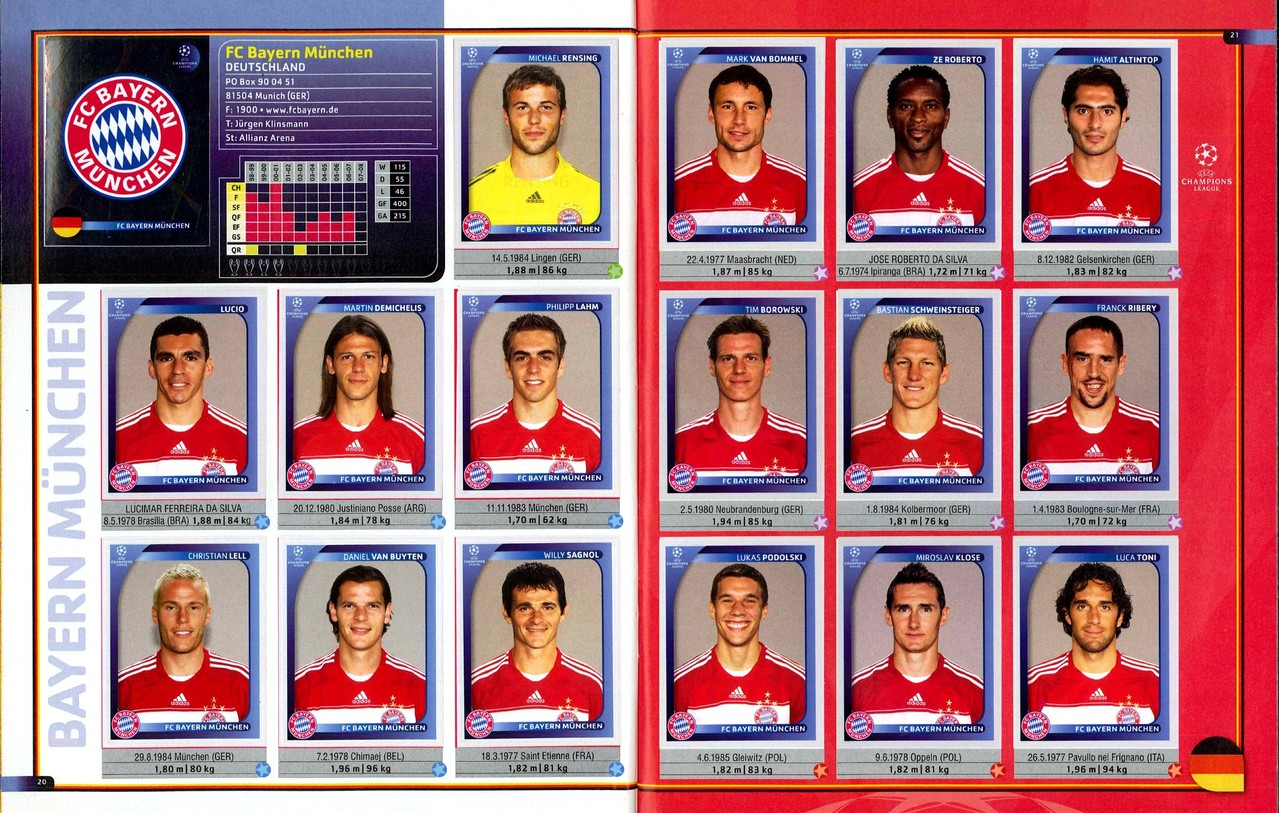 2008-09 - Panini Champions League - Pages 20 et 21 - FC Bayern Munich