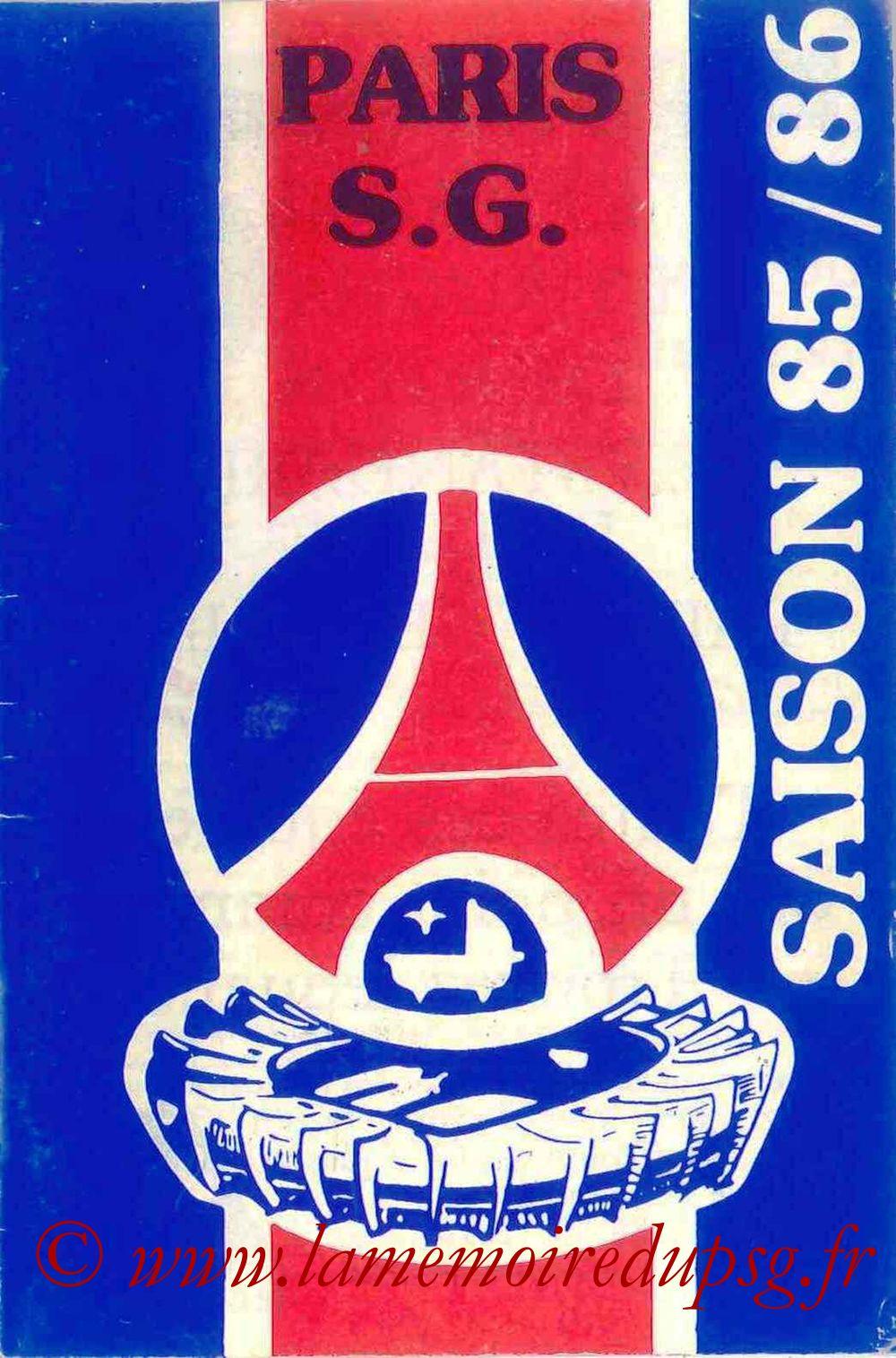1985-86 - Guide de la Saison PSG - Couverture