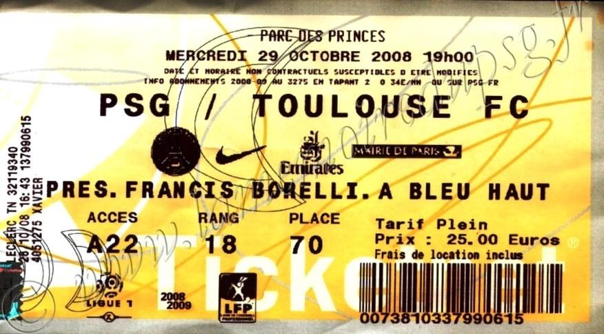 2008-10-29  PSG-Toulouse (11ème L1, Ticketnet)
