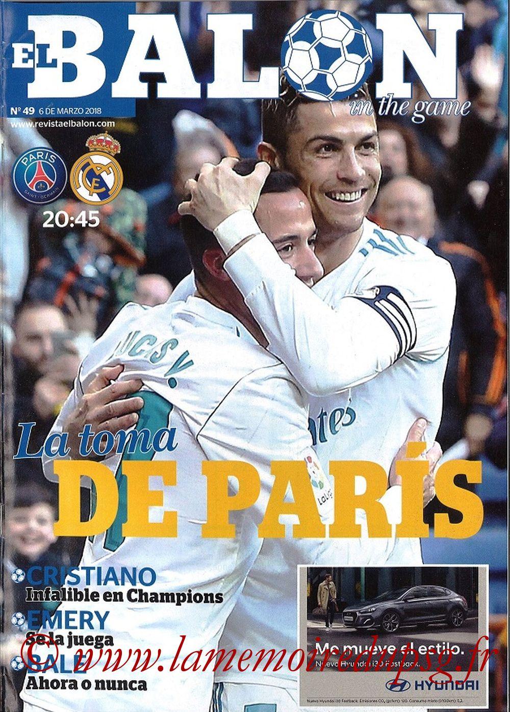 2018-03-06  PSG-Real Madrid (8ème Retourr C1, El Balon in the game N°49)