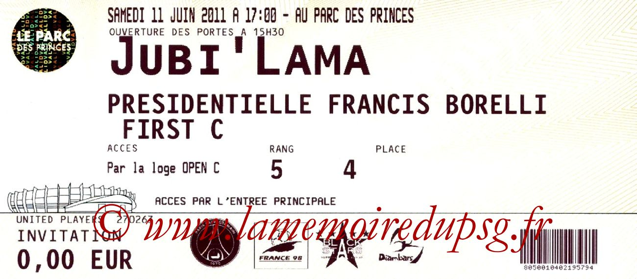 2011-06-11  Jubilé Lama au Parc des Princes
