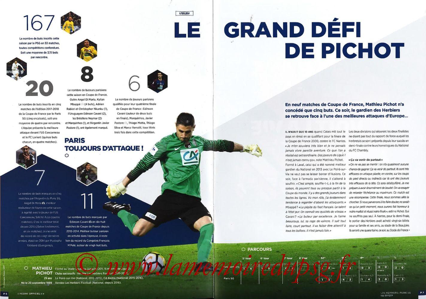 2018-05-08  Les Herbiers-PSG (Finale CF à Saint-Denis, Programme officiel FFF) - Pages 06 et 07