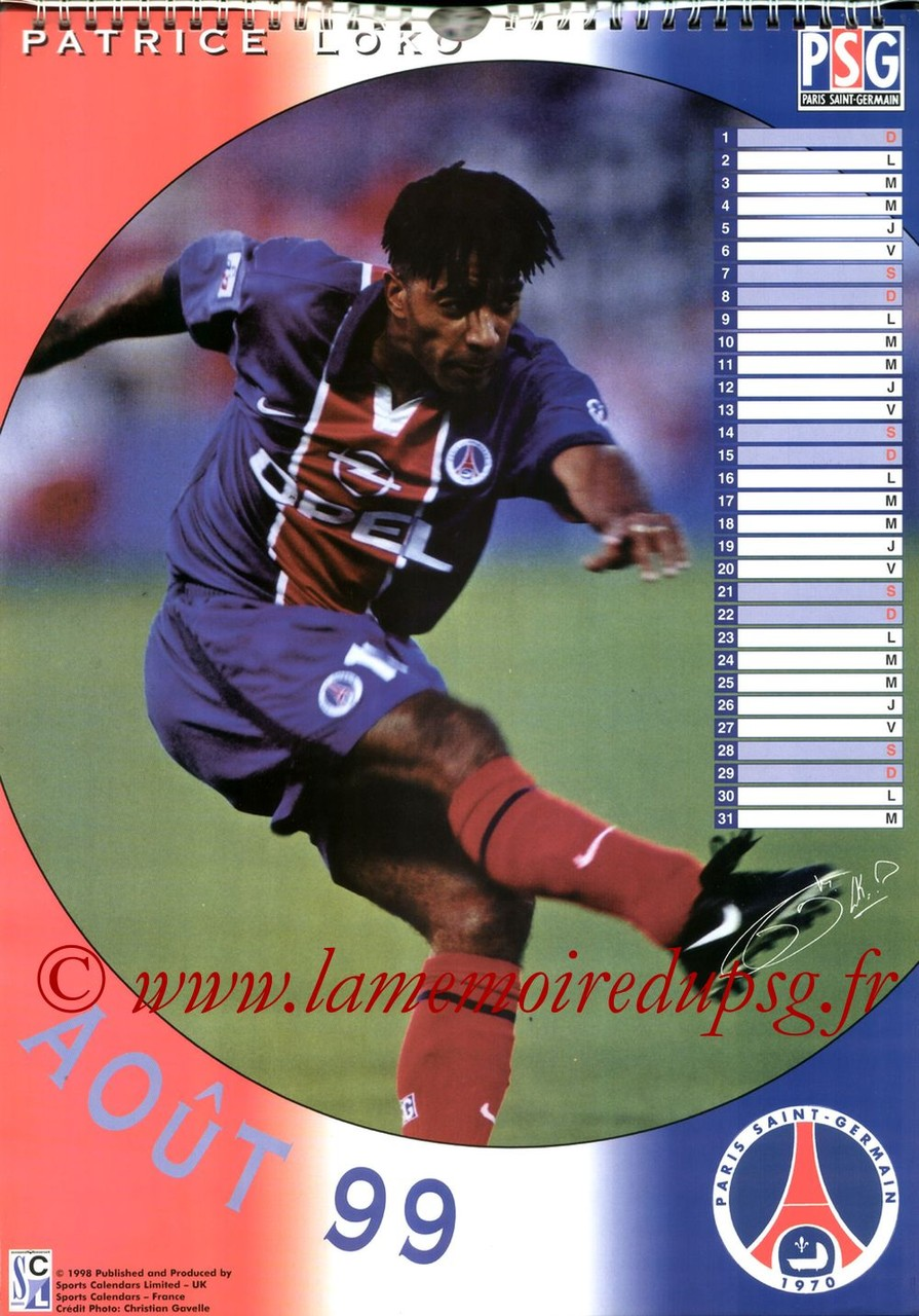 Calendrier PSG 1999 - Page 08 - Patrice LOKO