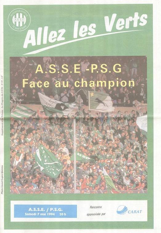 1994-05-07  Saint Etienne-PSG (37ème D1, Allez les Verts N° 97)