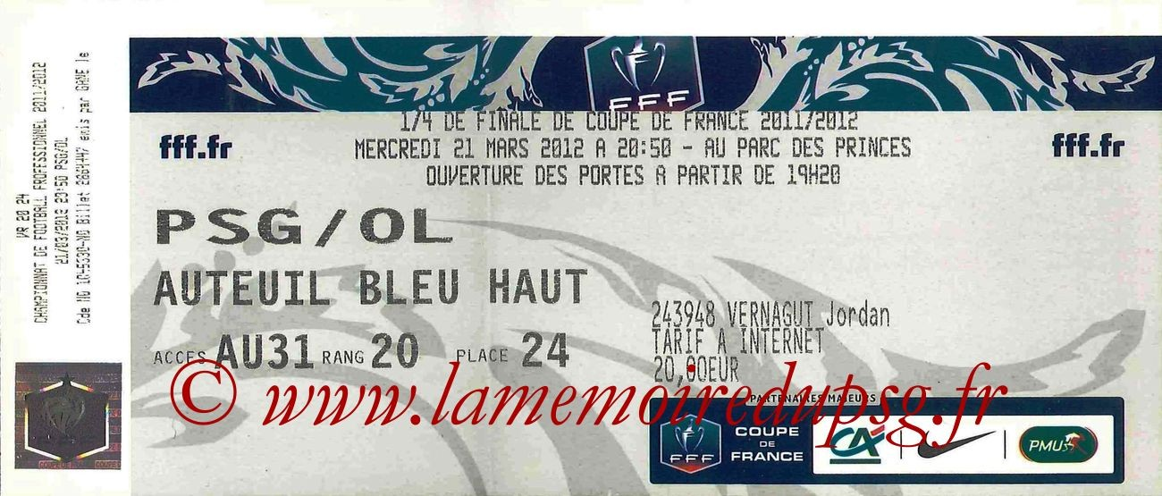 Tickets  PSG-Lyon  2011-12