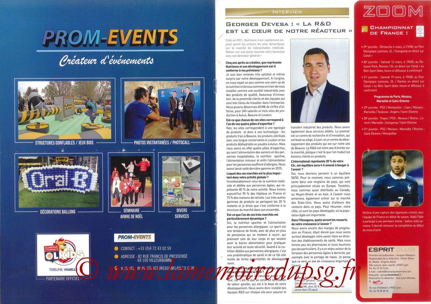 2016-02-28  Lyon-PSG (28ème L1, Esprit Club N°361) - Pages 04 et 05