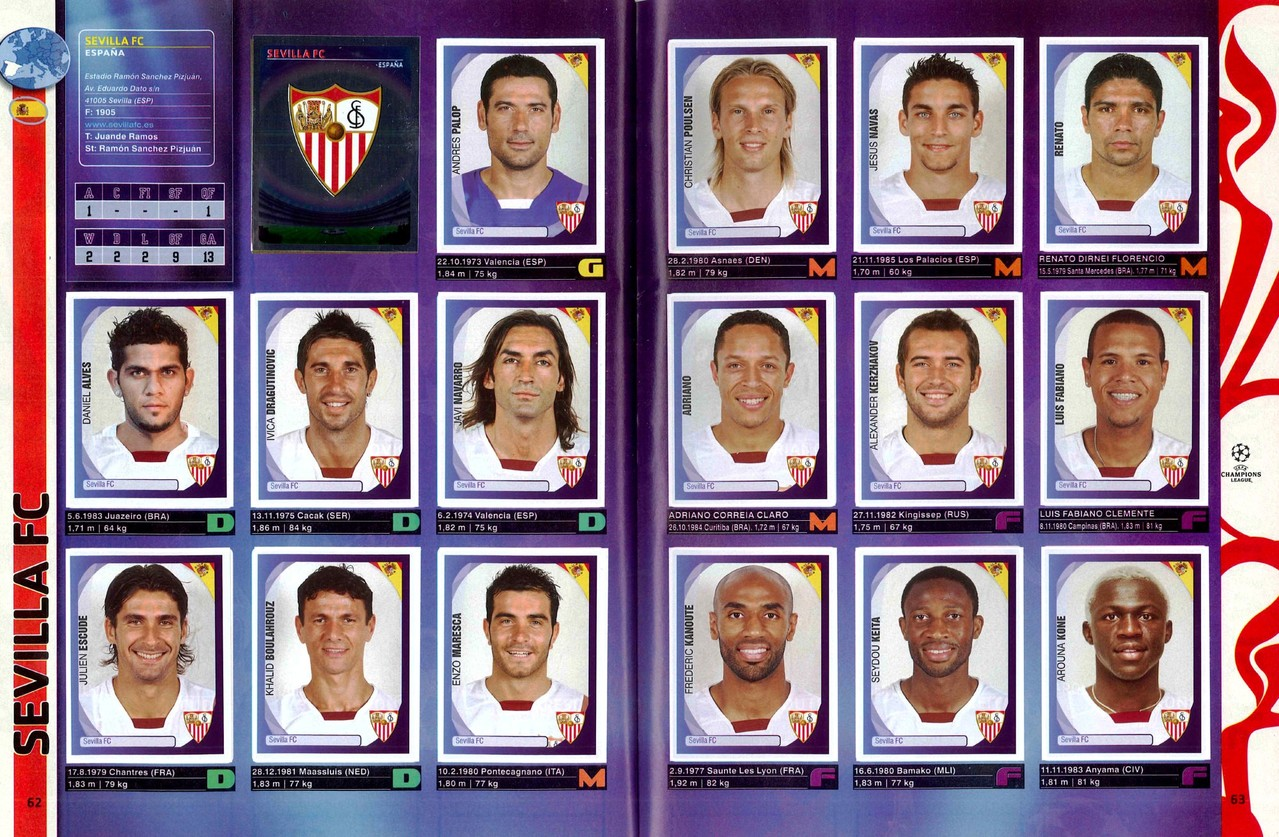 2007-08 - Panini Champions League - Pages 62 et 63 - FC Seville
